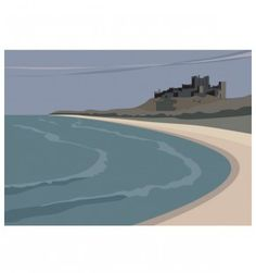The Beach at Bamburgh Railway Posters, Travel Posters, Digital Wave, Art Deco Posters, Typography Prints, Vintage Travel, Illustrations, Digital Illustration, Printmaking