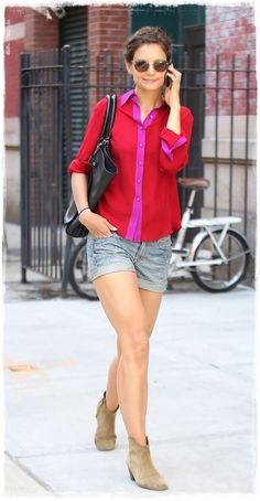 Celebrity Denim Shorts Street Style - Katie Holmes Perfect Transitional Look in Denim Shorts