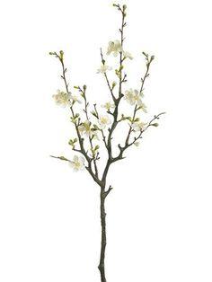 "Silk Quince Blossom Branch Spray in Cream<br>29"" Tall"