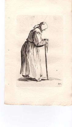 Jacques Callot - Beggars Woman & Rosary #20 Etching #Realism