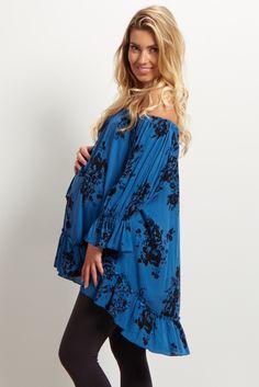 Blue Floral Off Shoulder Blouse PINKBLUSH.COM