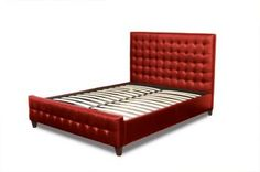 Red Tufted Leather Bed  Available at homegallerystores.com