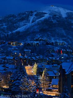 Holiday lights illuminate condos near the base of Steamboat Ski Area in Steamboat Springs, Colorado.