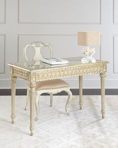 """48""""W x 24""""D x 31""""T.  great size Norris+Writing+Desk+at+Horchow."""
