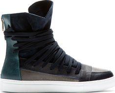 Krisvanassche - Navy Overlaced High-Top Sneakers | SSENSE
