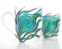 Peacock Coffee MugHandpainted single mug by MaryElizabethArts, $30.00