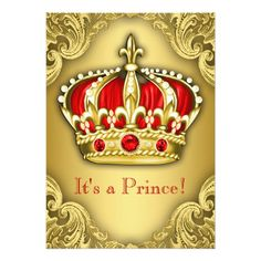 Fancy Prince Baby Shower Red and Gold 5x7 Paper Invitation Card