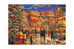 Puzzle Bluebird - Chuck Pinson: Christmas At The Town Square, piese Cross Stitch Embroidery, Embroidery Patterns, Hand Embroidery, Cross Stitch Patterns, Intermediate Colors, Z 1000, Markus Zusak, Christmas Town, Xmas