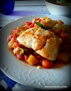 μπακαλιάρος Greek Cooking, Vegetarian Cooking, Cooking Recipes, Greek Recipes, Fish Recipes, Seafood Recipes, Greek Fish, Fish And Seafood, Soul Food
