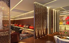 Executive lounge.  Kempinski Ambience Hotel by Hirsch Bedner Associates near New Delhi, India.