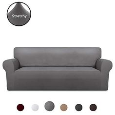 PureFit Super Stretch Chair Sofa Slipcover – Spandex Non Slip Soft Couch Sofa Cover, Washable Furniture Protector with Non Skid Foam and Elastic Bottom for Kids, Pets (Oversized Sofa, Light Gray Furniture Slipcovers, Slipcovers For Chairs, Sitting Cushion, Design Living Room, Couch Covers, Design Furniture, Sofa Chair, Animals For Kids