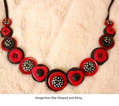 button necklace from Star Shaped and Shiny -   How Cute!!  Could be made of Polymer Clay!