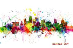 United States Print featuring the digital art Kansas City Skyline by Michael Tompsett
