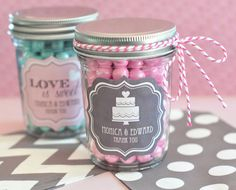 48 Personalized WEDDING Bridal Shower Mini Mason Jar FAVORS...Choose YOUR Design, Theme and Color! on Etsy, $92.00