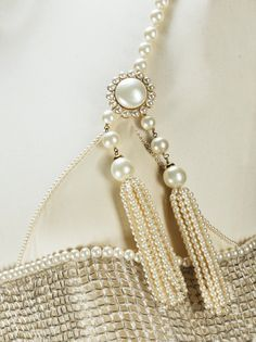Chanel Haute Couture par Karl Lagerfeld, 1991 | Lot | Sotheby's Chanel 19, Fashion Details, Fashion Design, Karl Lagerfeld, Pearl Necklace, Creations, Pearls, Crystals, 1990s