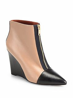 Marc by Marc Jacobs On Point Bicolor Leather Wedge Ankle Boots (=)