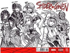 Whoo this one took a while. 8-9 hours start to finish.  Might contemplate colors later. Proud of how it came out.  Cover commission #10, front and back - Summoner Spider Gwen, Shinobi Spider-Man,  Sword Master Mary Jane,  Kunoichi Black Cat,  Lady Venom,  Web Mistress Silk,  Fan Blader Spider-Woman  #anime #manga #drawing #comics #inks #art #pen #badass #cartoon #spiderman #marvel #shinobi #ninja #redesign #kunoichi #blackcat #curvy #cute #animegirl #sexy #maryjane #silk #cindymoon…