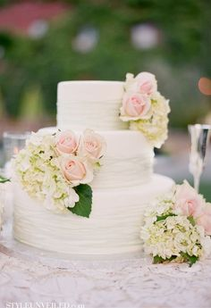 Wedding Cake with Blush Roses