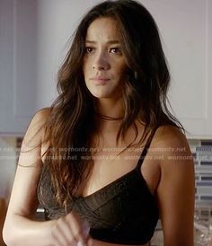 37f52064c6501 Emily s black lace bralette on Pretty Little Liars. Outfit Details  https