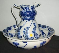 Blue and white Pitcher & Bowl Set