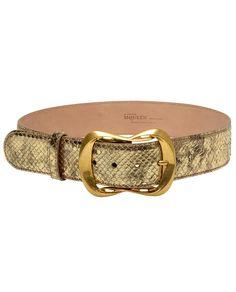 McQueen gold leaf python belt