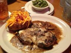 Texas Roadhouse Portebella Mushroom Chicken with a loaded baked tater and green beans!.... Had it the other night and will be making sure I try this one on my own!