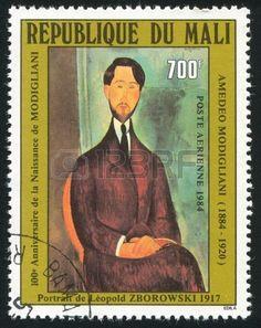 Portrait of Leopold Zborowski, by Modigliani, stamp printed by Mali, circa 1984