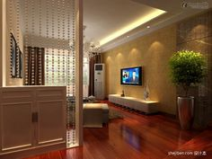 Effect picture of Chinese style living room partitions decorated ...