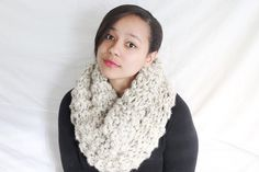 Hand knit cowl Knit scarf Chunky circle scarf  by reneeoriginals1
