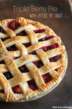 Triple Berry Pie with the Lattice Pie Crust that is actually easy to make! Great simple dessert to wow everyone with! Triple Berry Pie, Mixed Berry Pie, Easy Desserts, Delicious Desserts, Dessert Recipes, Yummy Food, Lattice Pie Crust, Yummy Treats, Sweet Treats