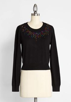 Throwing Glitter and Confetti Pullover Sweater - Celebrate the holidays in this chromatic, vintage-inspired sweater by U.K. brand Bright & Beautiful. Made from a soft, cozy black-hued knit, this subtly cropped pullover features a glittering sequined confection in rainbow hues at the crew neck. Delicately placed and thoughtfully detailed, this embellished knit will be on heavy rotation in your wardrobe. Fall Dresses, Fall Outfits, Party Dresses, Black Sweaters, Sweaters For Women, Holiday Party Outfit, Long Sleeve Henley, Cute Tops, Women's Tops