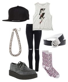 """Taeyang - Good Boy"" by clemerina ❤ liked on Polyvore featuring Quiz, Abercrombie & Fitch, Spectrum, T.U.K., Flexfit and GUESS"