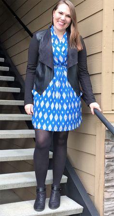 Cute printed dress!  Like that jacket too