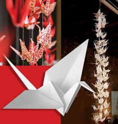 The story of a thousand cranes brings one wish, the perfect asian themed decor for a wedding with oragami paper to match the wedding colors!