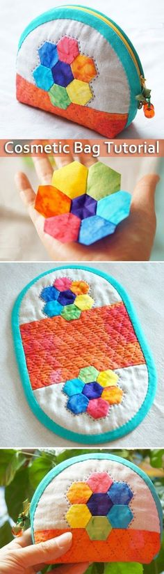 Patchwork quilting bags shape new ideas Patchwork Quilting, Patchwork Bags, Quilted Bag, Hexagon Quilting, Diy Quilting, Cosmetic Bag Tutorial, Purse Tutorial, Makeup Bag Tutorials, Sacs Tote Bags
