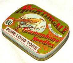 Vintage Tin Nightingale Gramophone Needles Tins 1980s Hinged Mini Tin Design Regd. $22.00, via Etsy.