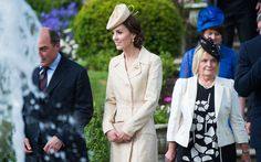 Belfast, Ireland: The Duchess donned a Day Birger et Mikkelsen coat—something she's worn several times previously—and paired it with a bespoke version of Lock & Co's Morning Rose Perching Hat. Duchess Kate, Duke And Duchess, Duchess Of Cambridge, Celebrity Travel, Celebrity Gossip, Kate Middleton Outfits, Cool Outfits, Fashion Outfits, Celebs