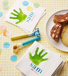 Add some personalization to your baby's first birthday party with these sweet and simple handprint napkins: http://www.parents.com/fun/birthdays/ideas/personalized-handprint-birthday-napkins/?socsrc=pmmpin130225bpHandprintNapkins