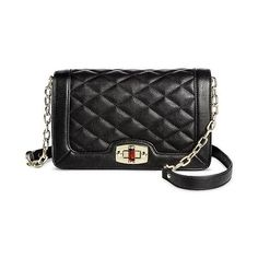 Women's Quilted Crossbody Faux Leather Handbag with Turn Lock Closure... ($30) ❤ liked on Polyvore featuring bags, handbags, shoulder bags, black, hand bags, purse shoulder bag, shoulder handbags, chain shoulder bag and crossbody purses