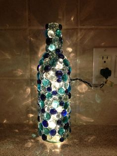 Bottle Lamp aqua blues clear by CreativeMelon on Etsy