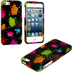 Amazon.com: myLife (TM) Rainbow Paint Splatter Series (2 Piece Snap On) Hardshell Plates Case for the iPhone 5/5S (5G) 5th Generation Touch ...