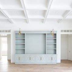Cabinetry paint color is the same as the kitchen island;- Cabinetry paint color is the same as the kitchen island; Sherwin Williams Smoky … Cabinetry paint color is the same as the kitchen island; Living Room Built Ins, Living Room Decor, Living Room Ceiling Ideas, Built In Shelves Living Room, Craftsman Living Rooms, Bedroom Built Ins, Dining Room, Living Room Storage, Cabinet Paint Colors