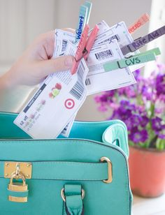 Keep coupons, bills, and paper together with clothespins.