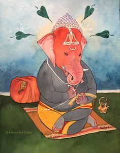 Jaya Ganapathy #watercolour #vinayakachaturthi #krishnafortoday