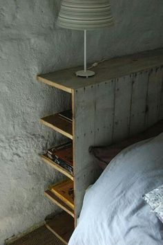 Love the hidden storage that this headboard has. Hidden storage behind the headboard. Great idea to go up the wall/headboard side of a platform bed. Maybe open up the opposite side under bed for shelving. Headboard With Shelves, Headboard Decor, Headboards For Beds, Diy Storage Headboard, Headboards With Storage, Homemade Headboards, Rustic Wood Headboard, Bookcase Headboard, Bedroom Storage