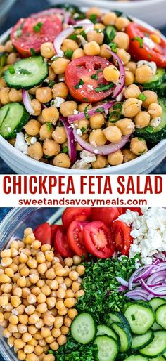 Chickpea Salad Recipe [video] - Sweet and Savory Meals Chickpea Salad is a great recipe highlighting not only chickpeas, but also tomatoes, avocados, and cucumber. It is our favorite summer salad! Chickpea Feta Salad, Chickpea Salad Recipes, Vegetarian Recipes, Cooking Recipes, Healthy Recipes, Recipes With Chickpeas, Chickpea Meals, Cucumber Tomato Feta Salad, Mediterranean Chickpea Salad