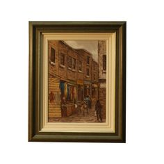 195 | TOM CULLEN  Sampsons Court, Moore Street, oil on canvas, signed, gallery label verso, framed Swan, Oil On Canvas, Irish, Auction, Fine Art, Street, Gallery, Frame, Painting