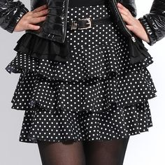 Three layer black dotted skirt
