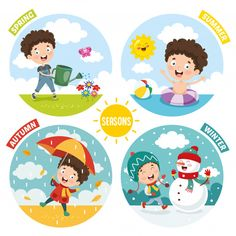 Illustration of kid and four seasons Premium Vector Preschool Charts, Preschool Learning Activities, Preschool Activities, Teaching Kids, Seasons Chart, Visual Timetable, Seasons Posters, Flashcards For Kids, English Lessons For Kids