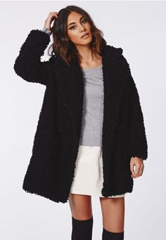 The black #fluffy fabric and beautiful shape of this lush #Missguided coat means you'll be the sassiest lady around. This is a new season showstopper, a totally winning coat to keep you warm and stylish.